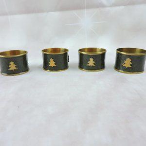 Green Gold Metal Napkin Holders Set of 4 Christmas